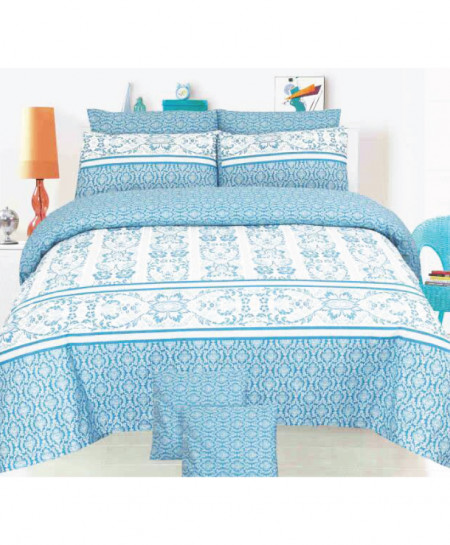 Light Blue Floral Style Cotton Comforter Set SY-C522