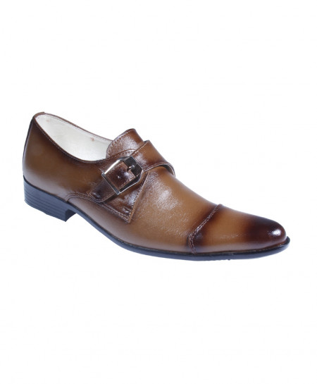 Mustard Leather Side Buckle Formal Shoes LC-565B