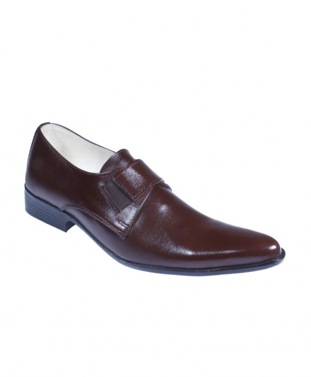Choco Brown Leather Slip On Formal Shoes LC-565E