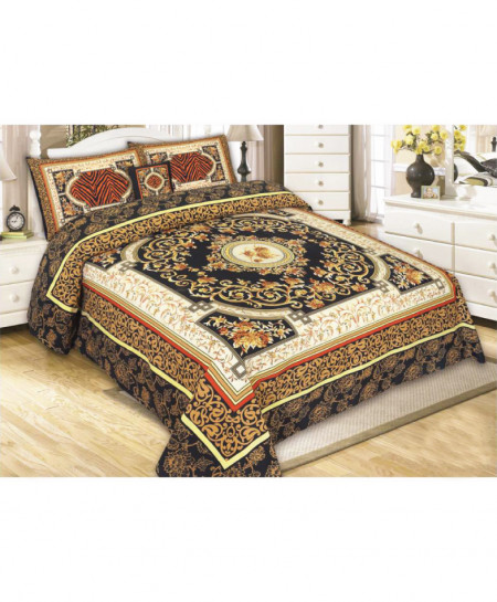 Brown Golden Floral Style Cotton Bedsheet SY-542