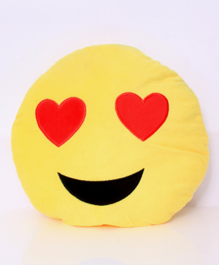 Heart Shape Eyes Emoji Face Pillow RB-5008