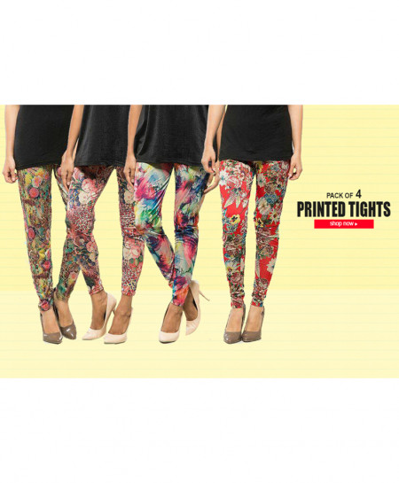 Pack Of 4 Digital Printed Tights CZW-7887