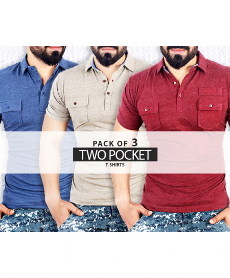 Pack Of 3 Two Pocket Style T-Shirts QR-672