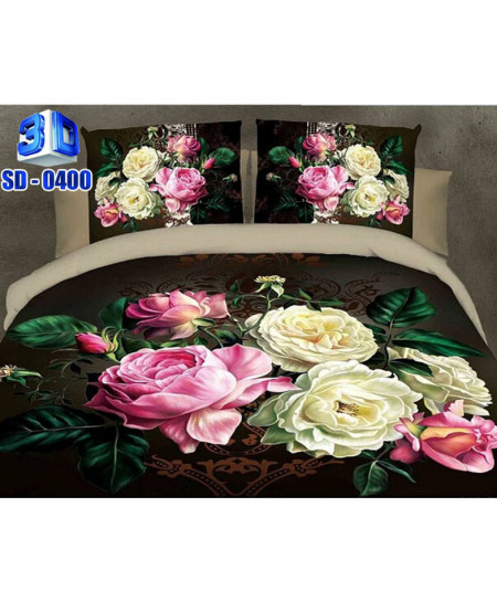 3D Brown Floral Stylish Cotton Satin Bedsheet SD-0400