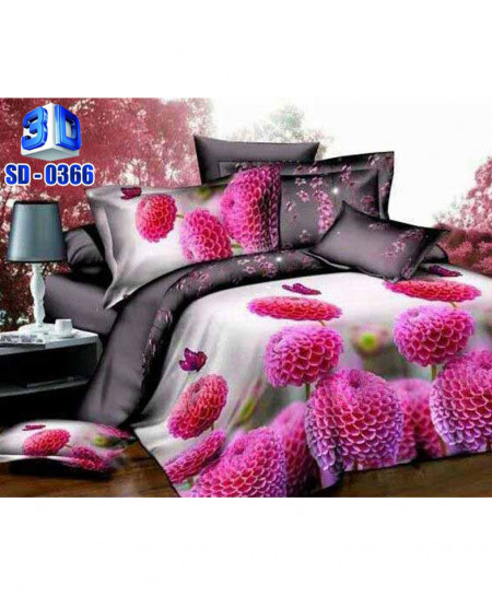 3D Pink Floral Stylish Cotton Satin Bedsheet RB-0366