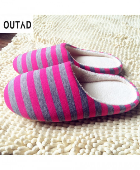 OUTAD Striped Winter Warm Soft indoor Slippers