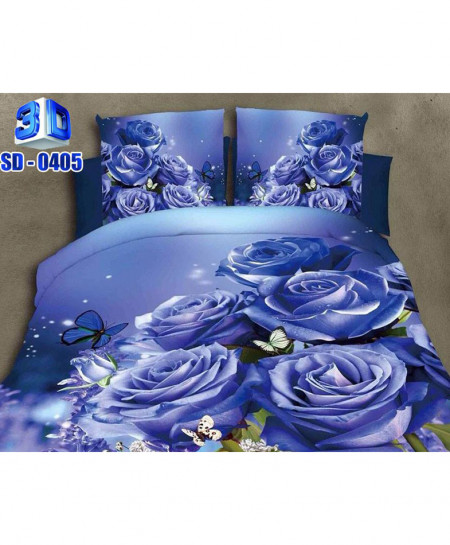 3D Blue Floral Stylish Cotton Bedsheet RB-0405