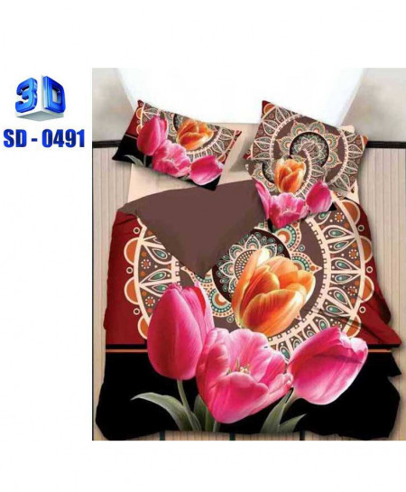 3D Floral Stylish Pattern Cotton Bedsheet RB-0491