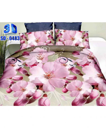 3D Dual Shaded Floral Stylish Cotton Bedsheet RB-0483