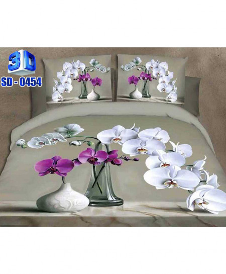 3D Gray Floral Vase Stylish Cotton Bedsheet RB-0454