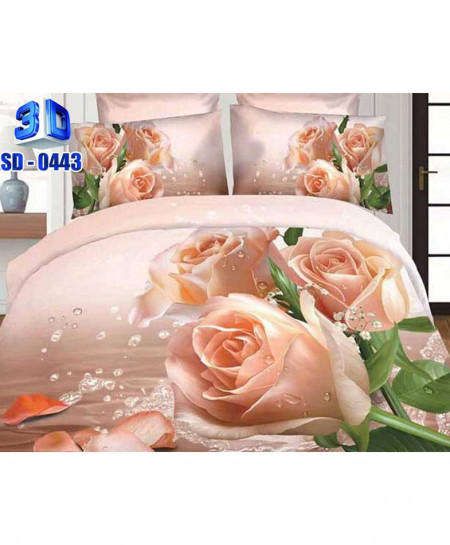 3D Floral Water Drops Stylish Cotton Bedsheet SD-0443