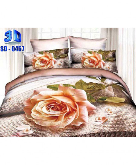 3D Floral Small Beads Stylish Cotton Bedsheet RB-0457