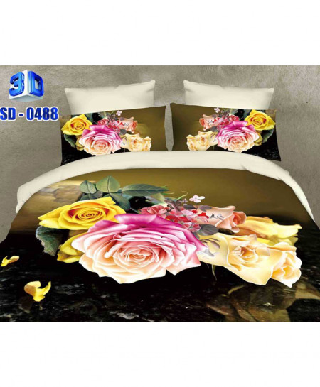 3D Multicolored Floral Stylish Cotton Bedsheet RB-0488