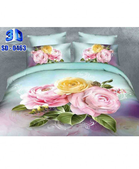 3D Dual Shaded Floral Stylish Cotton Bedsheet RB-0463