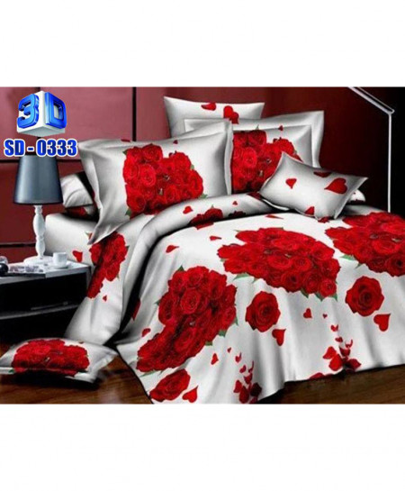 3D Red Heart Floral Stylish Cotton Bedsheet RB-0333