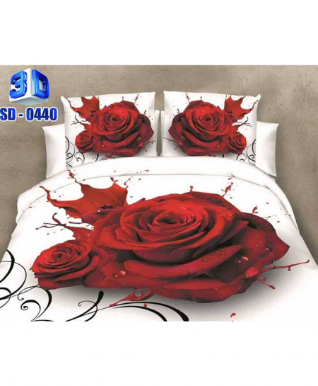 3D Red Floral Stylish Cotton Bedsheet RB-0440