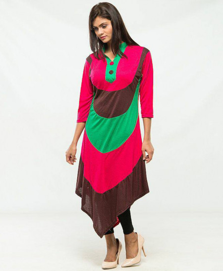 Varicolored Stylish V-Bottom Ladies Kurti MBK-008