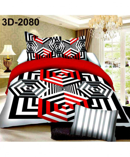3D Red Textured Design Cotton Satin Bedsheet SN-2080