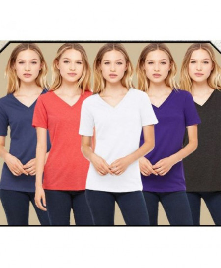 Pack Of 5 Liza Plain V Neck T Shirts FSF-012