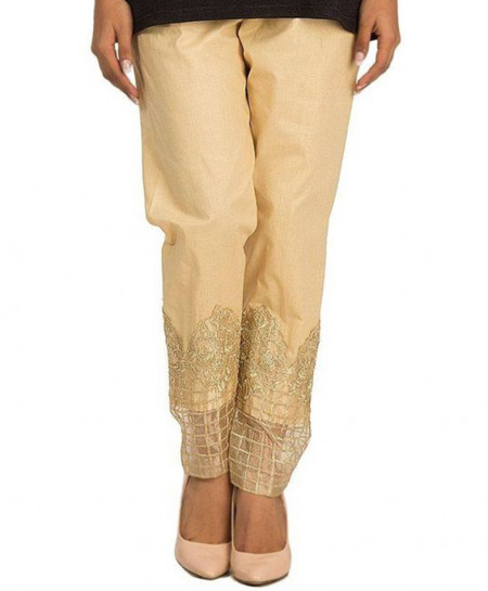 Beige Embroidered Bottom Cigarette Pants FSF-015
