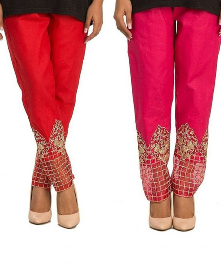 Pack Of 2 Embroidered Bottom Cigarette Pants FSF-016