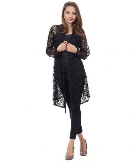 Black Netted Stylish Ladies Shrug FSF-017