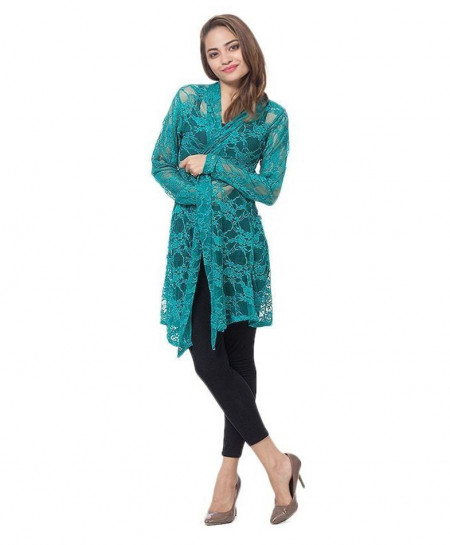 Teal Green Netted Stylish Ladies Shrug FSF-018