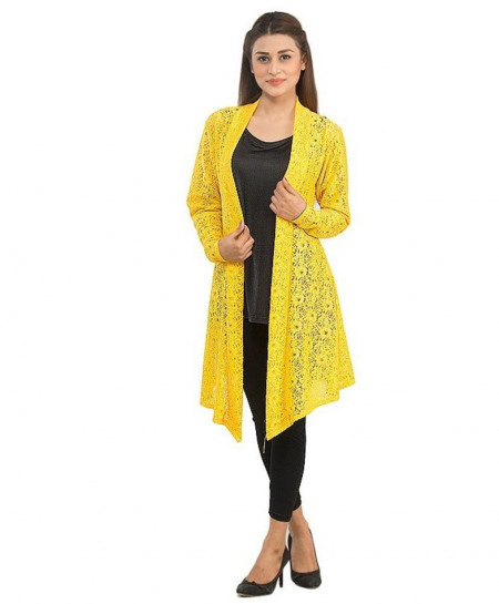 Lime Yellow Netted Stylish Ladies Shrug FSF-019