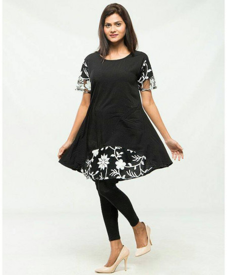 Black Printed Jersey Short Sleeves Tops FSF-020