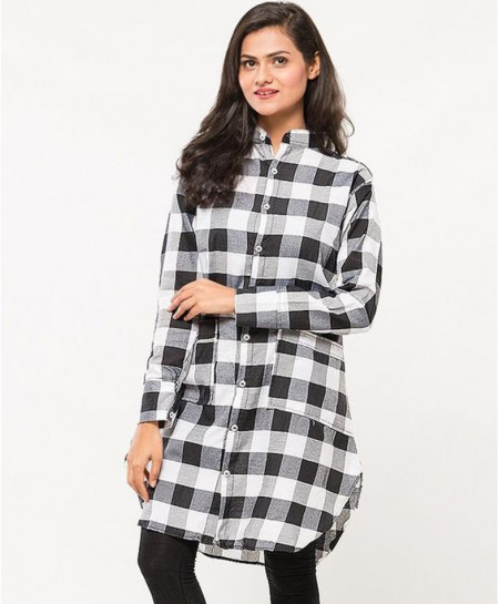 Black Checkered Dual Pocket Tops FSF-021