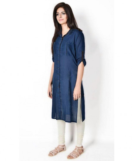 Denim Blue Collar Style Ladies Kurta FLK-212