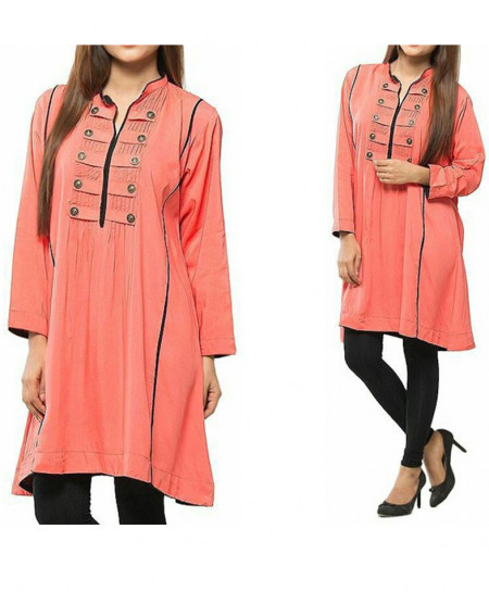 Peach Multi Button Straps Ladies Short Kurti FLK-216