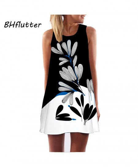 BHflutter Floral Print Sleeveless Women Dress