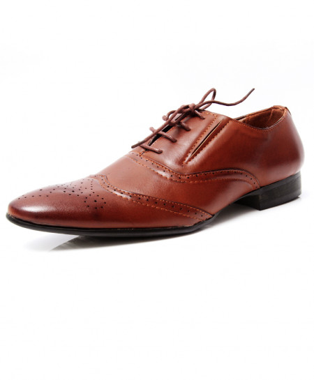 Brown Brogue Style Pointed Toe Formal Shoes LW-7018