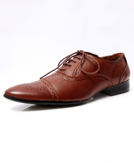 Choco Brown Brogue Pointed Toe Formal Shoes LW-7025