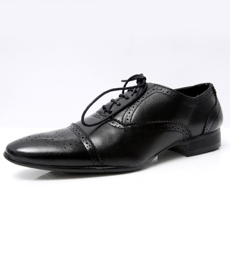 Black Brogue Pointed Toe Formal Shoes LW-7026