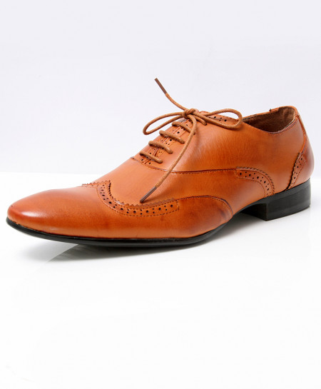 Camel Brown Brogue Pointed Toe Formal Shoes LW-7027