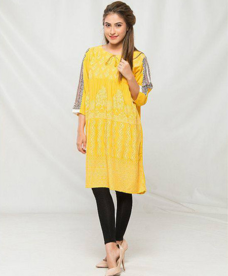 Yellow Printed Stylish Design Ladies Kurti MBK-012