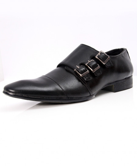 Black Tri-Buckle Stylish Formal Shoes LW-7058