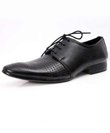 Black Dotted Stylish Formal Shoes LW-7060