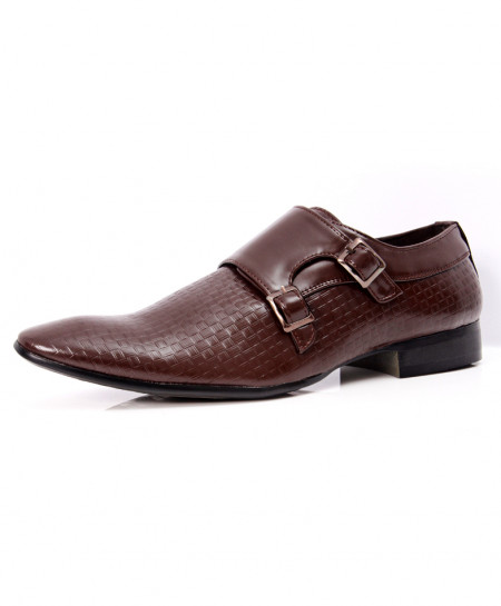 Brown Dual Strap Buckle Stylish Formal Shoes LW-7070
