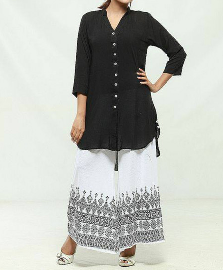 Black V-Neck Shirt With White Printed Plazo MBK-015
