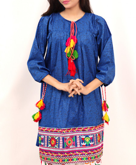 Navy Blue Embroidered Tunic Style Short Kurti DK-023