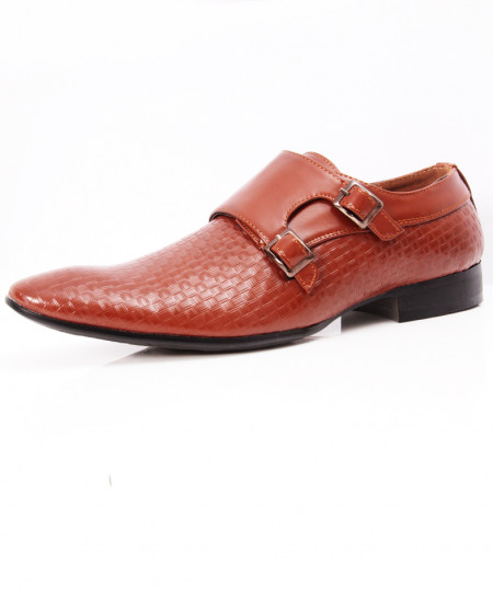 Brown Side Buckle Strap Design Formal Shoes LW-7075