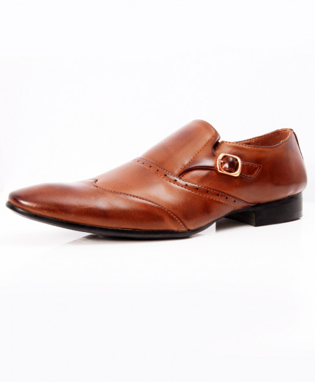 Brown Side Buckle Stylish Formal Shoes LW-7085
