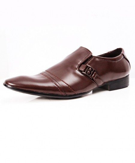 Choco Brown Side Buckle Stylish Formal Shoes LW-7098