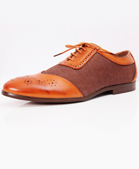 Brown Dotted Stylish Design Formal Shoes LW-7099