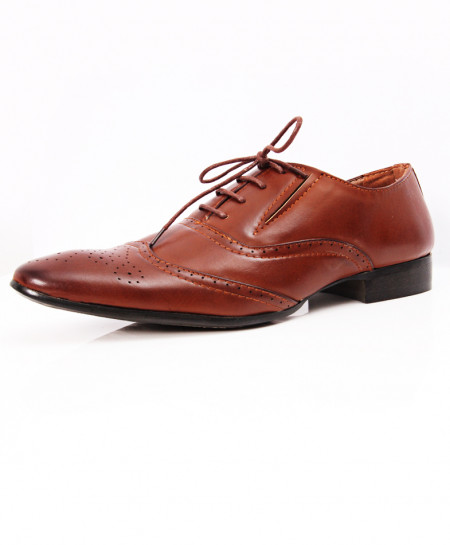 Brown Dotted Stylish Design Formal Shoes LW-7100