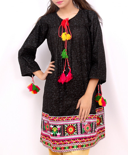 Black Embroidered Tunic Style Short Kurti DK-033