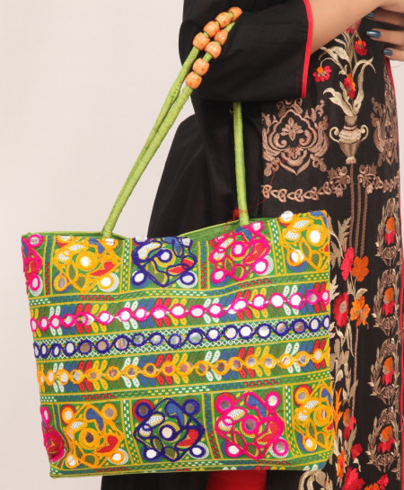 Lime Aari Embroidered Stylish Ladies Handbag VL-715